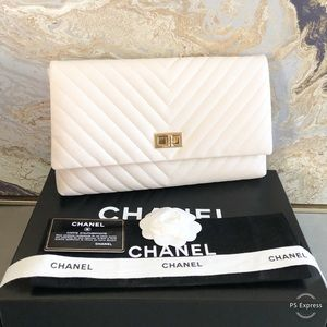 Chanel Chevron Ivory Lambskin Reissue 2.55 Clutch
